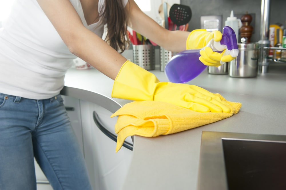 cleaning a kitchen